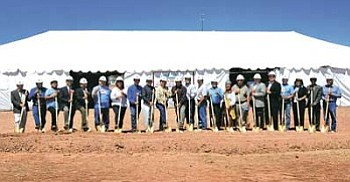 <i>Courtesy photo</i><br> A number of Navajo Nation council delegates and dignitaries, including President Joe Shirley Jr., Vice President Ben Shelly and Miss Navajo Jonathea Tso, attended groundbreaking ceremonies June 16 for the Navajo Nation's new casino near Church Rock, N.M.