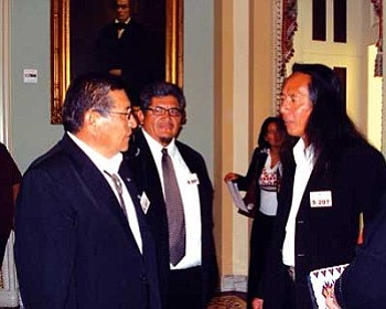 Navajo Nation Vice President Ben Shelly confers with Navajo Nation Washington Office lawyer Randall Simmons, who oversees health care legislation.