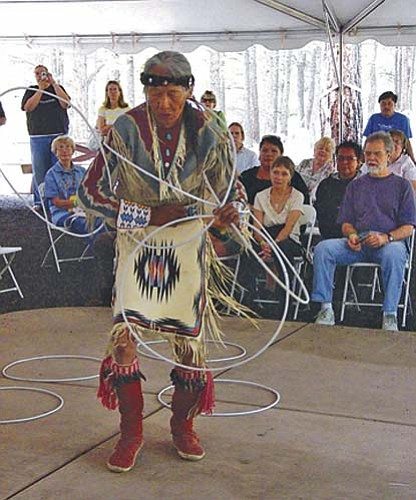 Jones Benally performs a hoop dance at the 2007 Navajo Festival of Arts and Culture at the Museum of Northern Arizona. Benally will once again be a part of this year's Navajo Festival to be held Aug. 2-3.