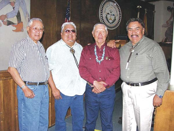 <i>Photo by Bronson Peshlakai</i><br> From left, former Navajo Nation Speaker Ed T. Begaye, former Navajo Nation President and Speaker Kelsey Begaye, former Navajo Nation Speaker Nelson Gorman Jr. and current Navajo Nation Speaker Lawrence T. Morgan.