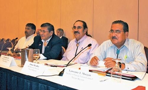 <i>Photo by Joshua Lavar Butler, NN-OS</i><br> A Navajo Nation delegation attended the quarterly meeting of the Tribal Budget Advisory Council (TBAC) meeting in Verona, N.Y. on Aug. 12-13, 2008. Pictured (from left to right) is Arbin Mitchell, Vice President Ben Shelly, Omer Bradley and Charles Long from Speaker Lawrence T. Morgan's office.