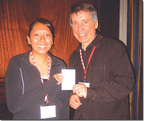 <i>Photo by Stan Bindell/NHO</i><br> Hopi High School's Povi Lomayaoma poses with Gregg McVicar, disc jockey of the national Undercurrents radio show.
