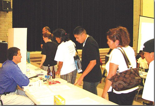 <i>Courtesy Photo</i><br>GAHS Dean of Students Dwight Witherspoon meets with parents on Open House.