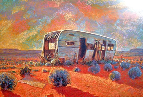 """""""Reclaimed by Snakeweeds,"""" by Shonto Begay, acrylic on canvas, 2008."""