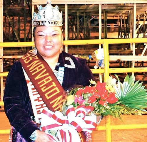 <i>Photo by Anton Wero/NHO</i> <br> Yolanda Charley smiles proudly as the newly crowned 2008-2009 Miss Navajo Nation. Charley, of Chi-Chil-Tah, N.M. was crowned last Saturday night following the night performance of the 62nd annual Navajo Nation Fair.