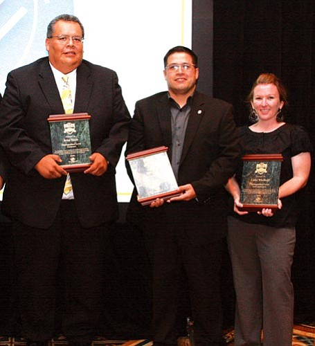 <i>Courtesy photo</i><br> Distinguished Level Professional Award winners from the Scottsdale Boys and Girls Club National Conference include (from left) Brian Yazzie, Soilo Felix and Cathy Wiedhopf.