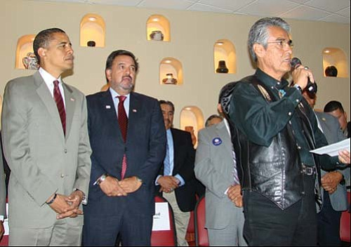 President Joe Shirley Jr. (at right) addresses tribal leaders as New Mexico Governor Bill Richardson (center) stands by with presidential hopeful Barack Obama.