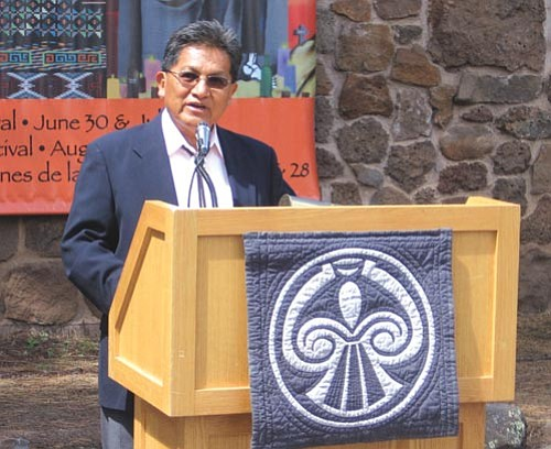<i>NHO file photo</i> <br> Hopi Tribal Chairman Benjamin Nuvamsa speaks to a crowd gathered at a Museum of Northern Arizona event earlier last summer. Nuvamsa, along with several tribal council members, was suspended Sept. 15 by Hopi Vice Chairman Todd Honyaoma Sr. and other members of the Hopi Tribal Council.