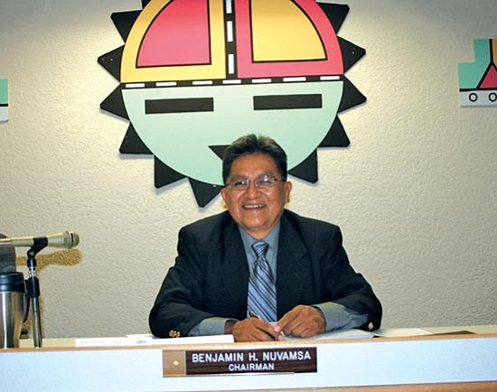 <i>Courtesy photo</i><br> <b>Is he Hopi Tribal Chairman or not?</b>: Hopi Tribal Chairman Benjamin Nuvamsa sits at his desk in the Hopi Tribal Council Chambers.