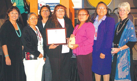 <i>Photo courtesy of J. Luna</i> <br>At right: Pictured from left to right: Jolene Luna, Janie Beaver, Maxine Peshlakai, Glennetta Jake-Henio, Pearl Alonzo, Beverly J. Coho and Carolyn Finster. Not pictured: Marlene Martinez.