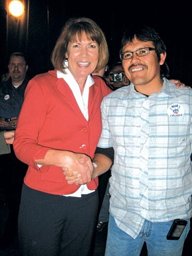 <i>Photo by Stan Bindell/NHO</i><br> Arizona District 1 Congresswoman-elect Ann Kirkpatrick gets congratulated by Tony Skrelunas from the Grand Canyon Trust.