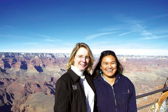 <i>Courtesy photo</i><br> Joëlle Clark, left, program director for Native Voices on the Colorado River, coordinates with Nikki Cooley, Diné river guide and San Juan River Basin project coordinator, for the Ecological Monitoring and Assessment Foundation.
