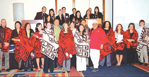 Members of the Education Committee of the 21st Navajo Nation Council attend the Fifth Annual Gala for Rocky Mountain Indian Chamber of Commerce to recognize 2008 American Indian Scholars in Denver. Pictured are board members of the Chamber and scholarship recipients.