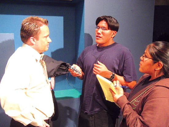 <i>Photo by Stan Bindell/NHO</i><br> Hopi High radio students Paul Quamahongnewa (center) and Natasha Naha (right) recently interviewed NAU radio broadcast teacher Charlie Hicks. Quamahongnewa was named as a youth member of the editorial board at Public Radio Exchange.