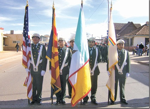 The Hopi High Color Guard Team led the Winslow Christmas parade on Nov. 22.
