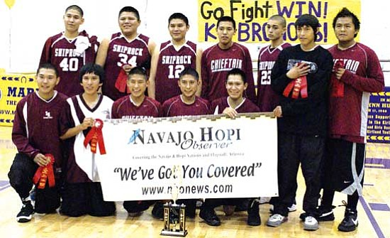 <i>Photo by Anton Wero/NHO</i><br> <b>NHO fans are champions:</b> The Shiprock Chieftains were second place champions at the 2008 Webb-Toyota Boys Basin Tournament. In the back row pictured from left to right are: Ryan Rockwell, Tyson Billy, Colby Nahkai, Nicholas R. Begay, Julian Wahnee, Dustin Johns and Wesley Ben. Front row: Devon Lapahie, Robert Lapahie III, Jaron Shorty, Daron Shorty and Verlyn Begay.
