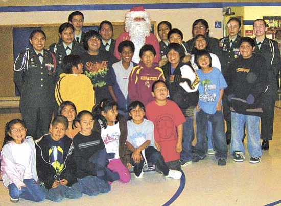 <i>Courtesy photo</i><br> The Hopi JROTC Battalion poses with Santa Claus and students that excelled in their class at Hotevilla/Bacavi Community School.