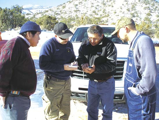 """Navajo Nation Vice President Ben Shelly speaks with San Juan County Administrator Rick Bailey. """"Mr. Bailey and the San Juan County Commission are the real heroes of this emergency incident,"""" Vice President Shelly said. """"The Navajo Nation owes him a tremendous debt of gratitude."""""""