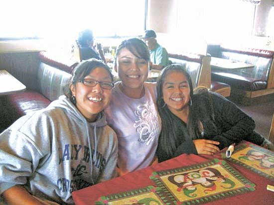 <i>Photo by Stan Bindell/NHO</i><br> Hopi High girls cross country enjoyed lunch at the Hopi Cultural Center. From left are: Teresa Josytewa, Tracy Billy and Kayla Koruh.