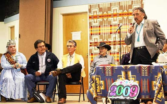 <i>Photo by Joshua Lavar Butler</i><br> Speaker Lawrence T. Morgan was an honorary speaker at the chapter inauguration for Fort Defiance Agency in Window Rock, Ariz. on Jan. 8. From left to right: Miss Navajo Nation Yolanda Charley; Stanley Yazzie with Division of Community Development; Navajo President Joe Shirley Jr.; Council Delegate Young Jeff Tom; and, Speaker Lawrence T. Morgan.