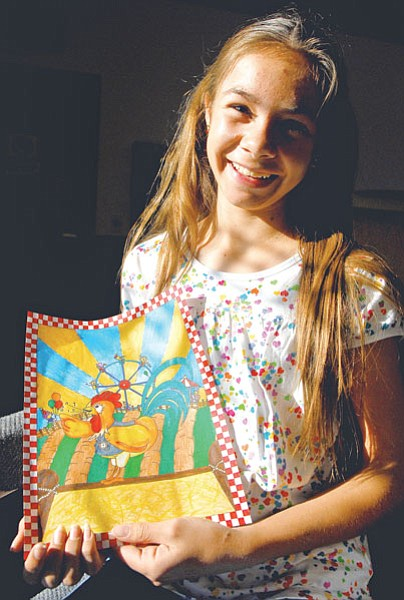 Shalom Eis, 12, of Dewey, displays her colored pencil and marker drawing she submitted in the contest for the Yavapai County Fair Premium Book.<br> Courtesy Photo/ Matt Hinshaw