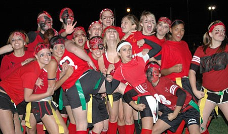 The Junior girls lost the Powder Puff game in 2007, and as seniors in '08, are hungry for a win on the Bradshaw Mountain football field next Wednesday as they face this year's junior team.<br> <i>TribPhoto/Cheryl Hartz</i>