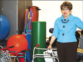 Special Services Director Kay Turner stands near equipment in the physical therapy classroom that preschoolers in the Bright Futures program will use at the BMHS east campus starting Monday.<br> <i>Trib Photo/Sue Tone</i>