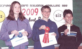 Winners of the Scripps Howard National Spelling Bee show their ribbons and certificates, from left, first place, Kelly Johnson, 13, of Chino Valley (8th grade); second place, Adam Schilperoort, 14, of Prescott (8th grade); and third place, Timothy Janisch, 12, of Prescott Valley (7th grade).<br> Courtesy photo