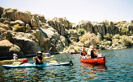 Students' improved strength and skill with kayaking promoted them to Watson Lake on May 7 where they paddled for three hours and explored rock formations, indigenous birds and plant life.<br> Courtesy Photo