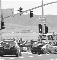 This accident at Highway 89A and Robert Road resulted in serious injuries to a Cottonwood man and non-life threatening injuries to four Anthem residents. <br> Photo courtesy Shirley J. Williams