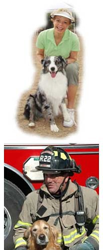 """Top, Toni Tennille and another """"Captain,"""" and Firefighter Dave Lattman and his new friend """"Buster."""""""
