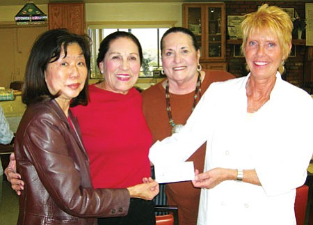 From left, Jasmine Crowl, Minnie Moeck, Aux, Pres. Sheila Randall, and Treas. Christine Greene.<br> Courtesy photo
