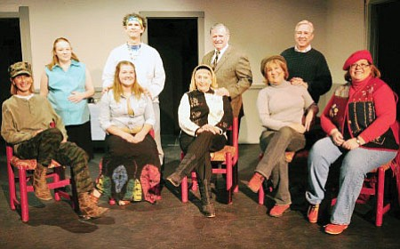 "The cast of ""The Heidi Chronicles,"" seated front row from left: Kathleen Davis, Danica Jeffries, Marcia Benson, Marnie Uhl, and Karen Churchill; standing Abbey Frommer, Jon Meyer, Dick Patton and Bill Haas Photo by Stew Schrauger/Natural Visions Photography"