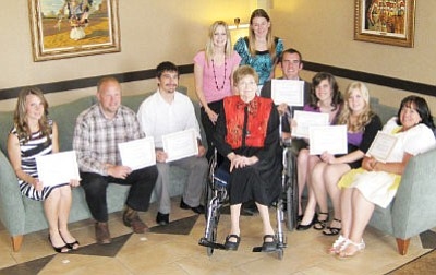 Recipients of $1,500 scholarships from the Education Scholarship Endowment-Yavapai County flank Prescott resident Gladys Gardner, who founded the organization to support students intent upon teaching careers. The students, all from Yavapai County, are (l to r) Tabitha King, William Hogue, Erik Juarez, Morgan Dubs, Amy Kuntz, John Hannah, Christine Penner, Shannon Erickson, and Jill Wagner. Not pictured is Ramsey Fornara. <br /><br /><!-- 1upcrlf2 -->Courtesy Photo