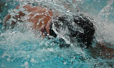 Water embraces a Bradshaw Mountain swimmer in this 2009 photo. The Bears once again are making waves at the Mountain Valley Splash pool.<br> Trib File Photo/Cheryl Hartz