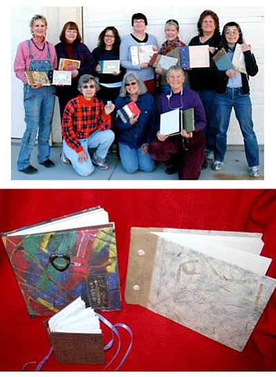 SeQQQuence book artists at Brenda's studio, January 2011. Three books made during recent workshops.