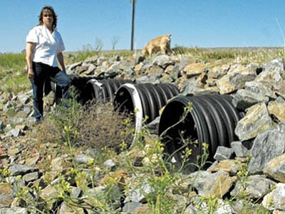 Sheila Rhodes stands near some of the new culverts she says are flooding her home.<br> Photo courtesy Scott Orr
