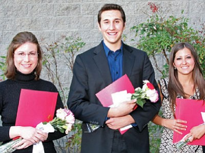 Katherine Meyers and James Grandjean of Prescott Valley and Caia Decker were presented with Yavapai Symphony Association scholarships in May.<br> Courtesy photo