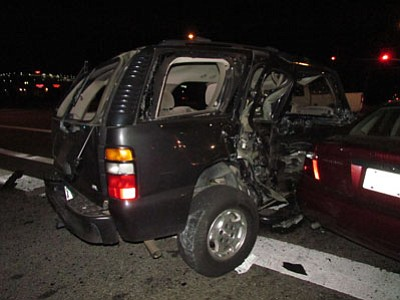 Six people received serious injuries in this accident at Highway 69 and StoneRidge Drive on Monday night.<br> PVPD/Courtesy photos