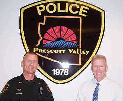 Det. Sgt. Art Askew and Lt. James Edelstein have received promotions to the rank of Police Commander, effective Oct. 24. The Prescott Valley Police Dept. will honor them in a promotion ceremony at PV Council Chambers at 5:30 p.m. on Nov. 17.<br> Courtesy/PVPD