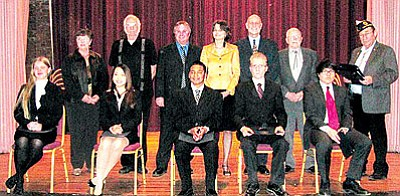 American Legion's National High School Oratorical Contest, Area C competition Feb. 18, 2012, at the Prescott VA.  Judges, left to right are: Judith Riggenbach, Leo Zuercher, Chris Kuknyo, Tamara Kastanas, James Koster, Daniel Williamson and Jim Strande. Student contestants from left to right are: Ayla Bowman, Bradshaw Mountain High School – 3rd place; Jessica He, Cesar Chavez High School – 1st place; Nathan Kibler, Cesar Chavez –  5th; Eli Coakley, Tonopah  Valley High – 2nd; Hector Andrade, Tonopah Valley – 4th. He and Coakley advanced to statewide competition<br> Courtesy Photo