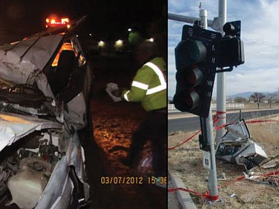 <b>Left photo:</b> Jerry Pauley, 49, of Prescott Valley died last Wednesday when he crashed his Chevy Tahoe into some large trees and a sign on Frontage Road near Navajo and Highway 69. <b>Right photo:</b> A control box at Windsong and Lakeshore drives took the brunt of the damage when a vehicle left the roadway and crashed into it early Sunday morning.<br> Photos courtesy PVPD