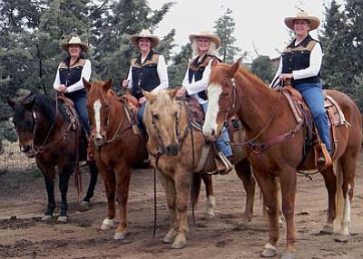 Granite Mountain Riders officers for 2012, from left, are President Deniece McAnulty, Secretary Susan Sestak, Vice President Debbe Dolson, and Treasurer Barbara Caserman.<br> Courtesy Photo