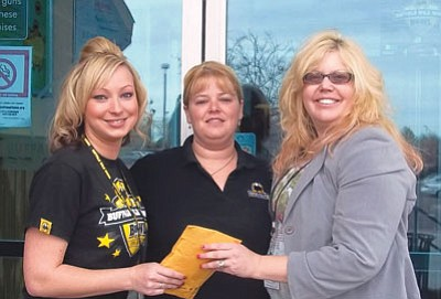 From left, Susan White and Jamie Stancil of Buffalo Wild Wings of Prescott Valley, and Tina Blake of the West Yavapai Guidance Clinic Foundation.<br> Courtesy Photo