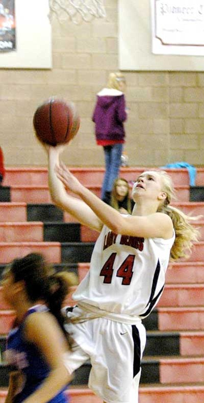 Bradshaw Mountain's Ashlie Dowdy goes up for two during a home game against Page this past Tuesday.<br> Trib Photo/Cheryl Hartz