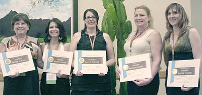 Five teachers in the Humboldt Unified School District earned the designation of Arizona Master Teacher out of 25 statewide at the 4th Annual Celebration of Accomplished Teaching on Feb. 9 in Chandler. From left are Norma King, second grade teacher at Liberty Traditional School; Christina Gabaldon, second grade teacher at Granville Elementary; Melissa Tannehill, Instructional Specialist for all three middle schools; Sandra Clark, Gear-Up Coordinator; and Connie Hargis, third/fourth grade combination class at Lake Valley Elementary.<br> Courtesy Photo
