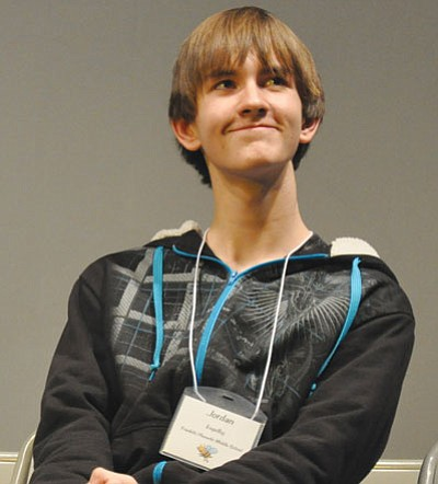 Jordan Engelby smiles after winning second place honors in the Yavapai County Spelling Bee Feb. 13.<br> TribPhoto/Heidi Dahms Foster