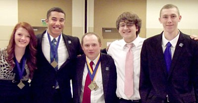 Five Bradshaw Mountain High School DECA students earn top scores at DECA conference and will represent Arizona when they compete at nationals in California in April. From left are RaeAnna Bergam, Corey Griffin, Josiah Cilano, Christian Moncada, and Darius Anderson.<br> Courtesy Photo