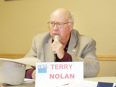 Nolan speaks during a candidate forum last month.<br> TribPhoto/Sue Tone