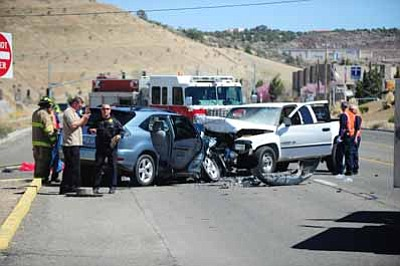 A Humboldt man died in this Highway 69 head-on collision at about noon Monday.<br> Photo courtesy Les Stukenberg
